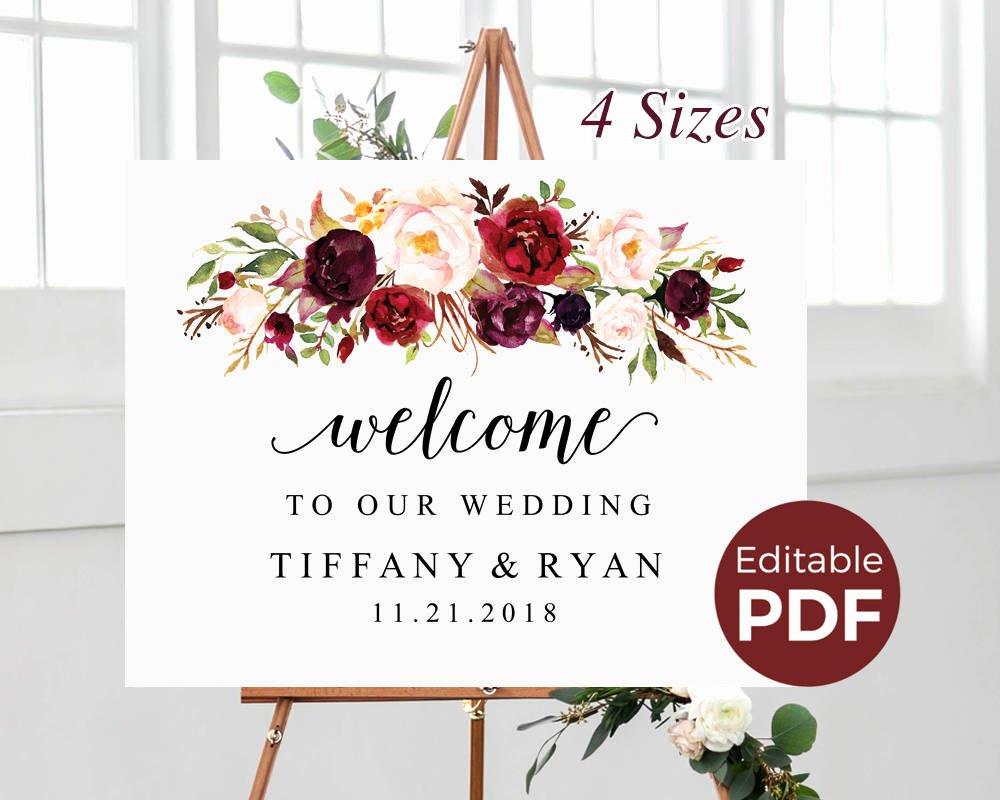 Welcome Sign Template Free Inspirational Marsala Wedding Wel E Sign Editable Pdf Template Boho