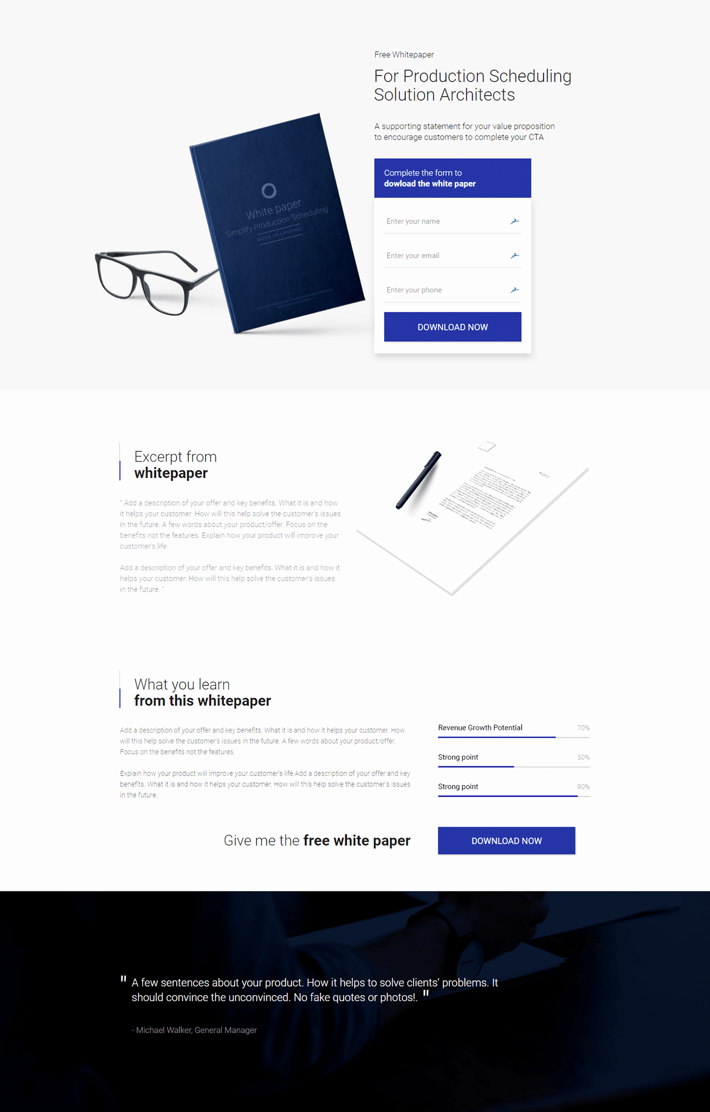 White Paper Design Template Fresh White Paper Download Landing Page Template