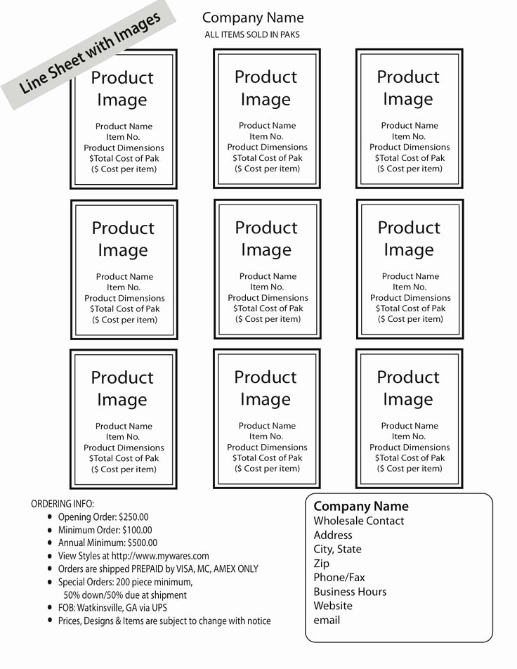 Wholesale Line Sheet Template Lovely How to Create A wholesale Line Sheet & order form