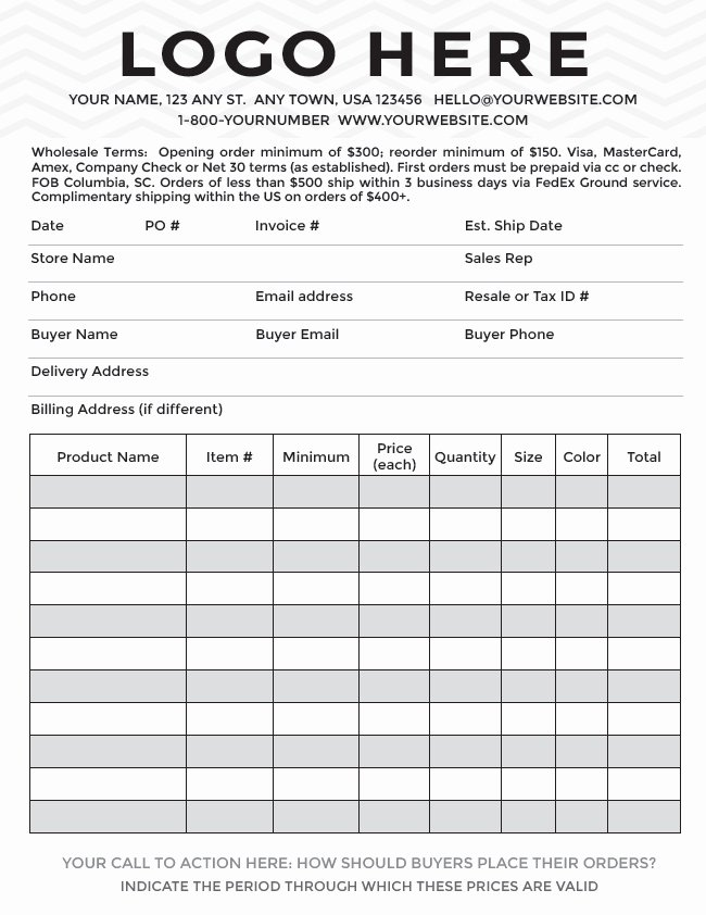 Wholesale order form Template Luxury Templates wholesale order form Template – Radiofama