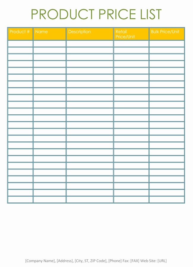 Wholesale Price List Template Best Of Price List Templates Free Samples and formats for Excel