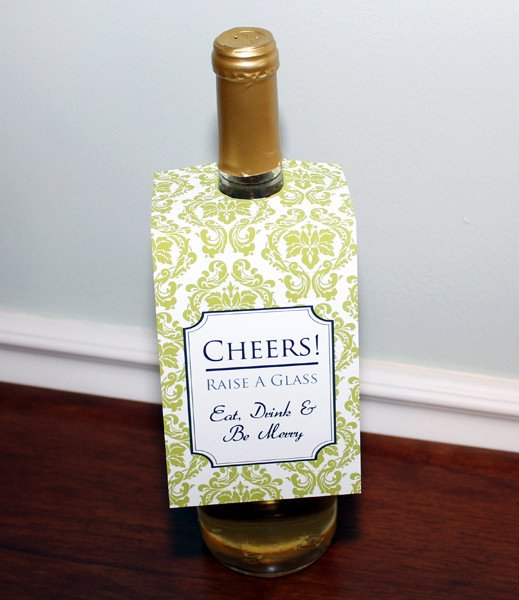 Wine Bottle Tag Template Beautiful Damask Wine Bottle Tag Template – Download & Print