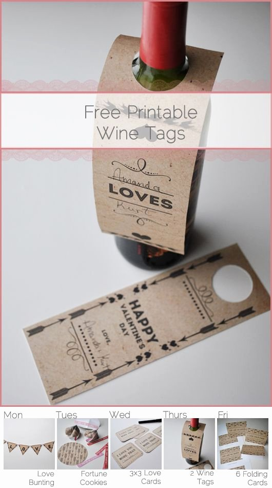 Wine Bottle Tag Template Beautiful Free Printable Valentines Day Wine Bottle Tags