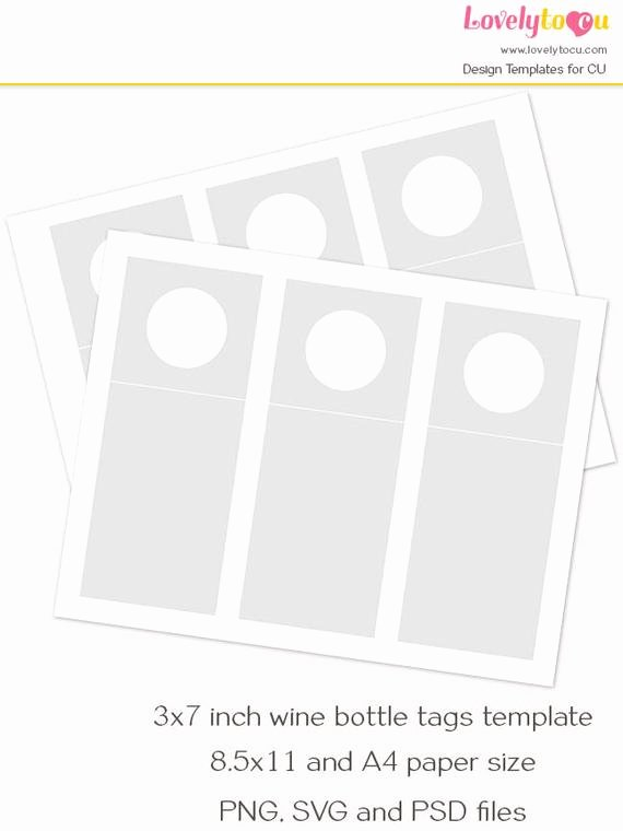 Wine Bottle Tag Template Inspirational Wine Bottle Hang Tag Template Printable Blank Craft Sheet