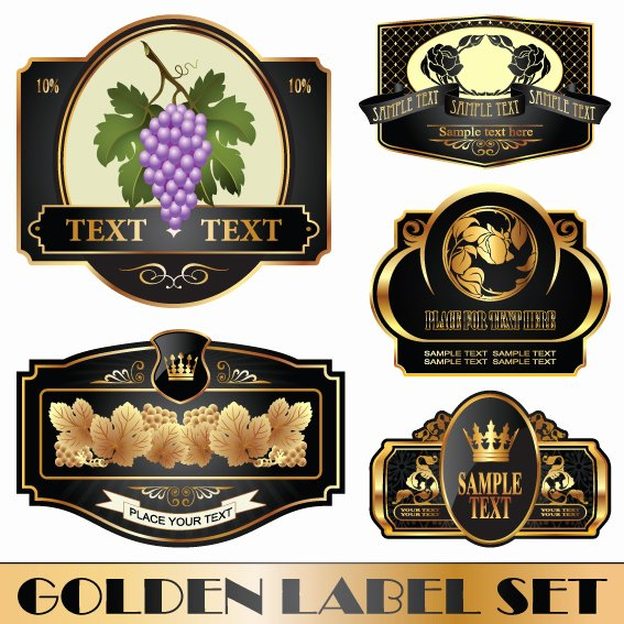 Wine Label Template Photoshop Beautiful Golden Bottle Of Wine Labels Vector 04 Free