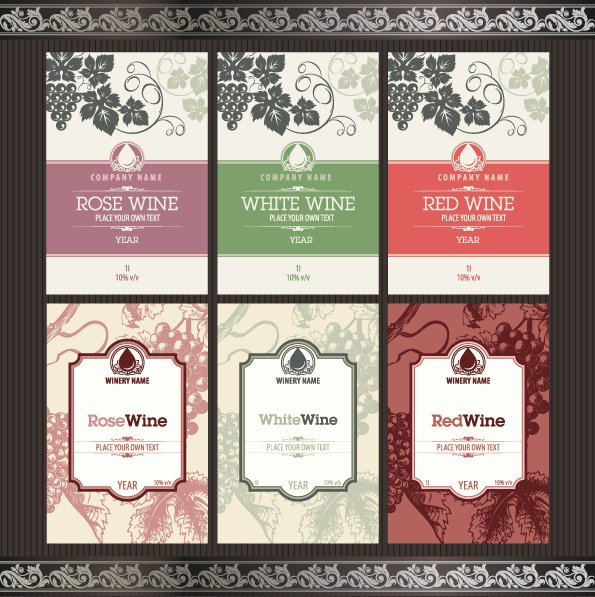 Wine Label Template Photoshop Beautiful Vintage Elements Of Wine Labels Vector Material 02