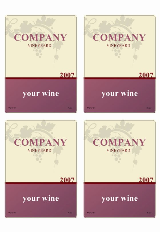 Wine Label Template Word Luxury Wine Label Template