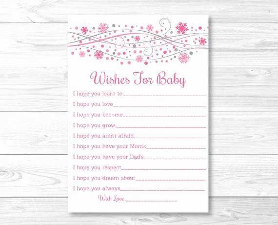 Wishes for Baby Template Awesome Pink Snowflake Wishes for Baby Cards Advice Cards