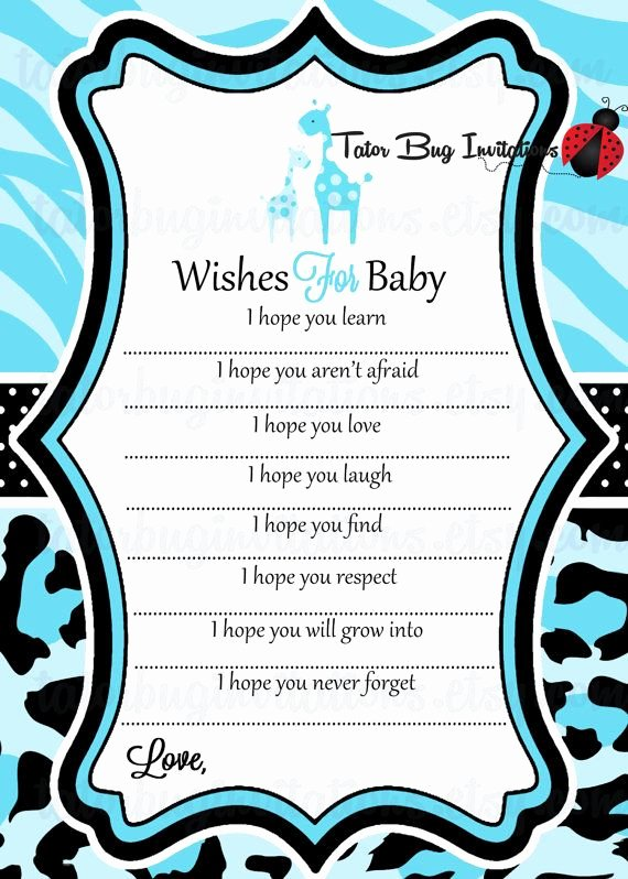 "Wishes for Baby Template Elegant Printable Baby Safari ""wishes for Baby"" Advice Template"