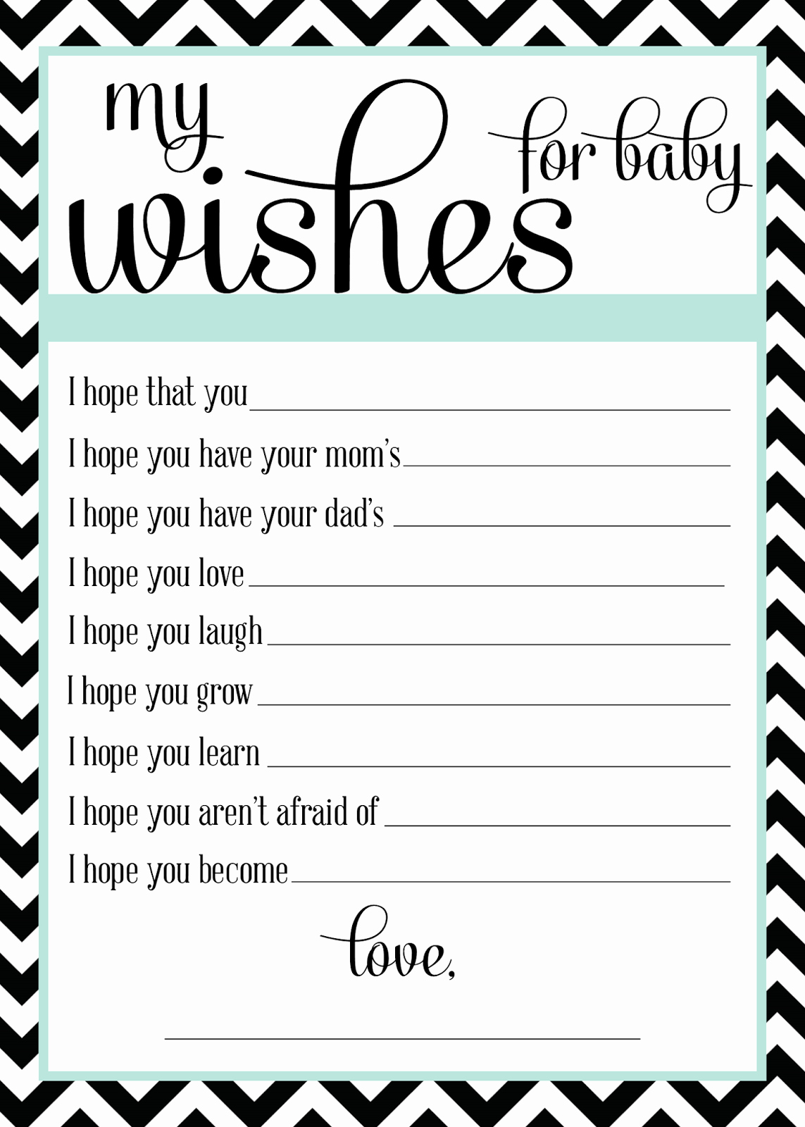 Wishes for Baby Template Elegant Sugar Queens October 2013