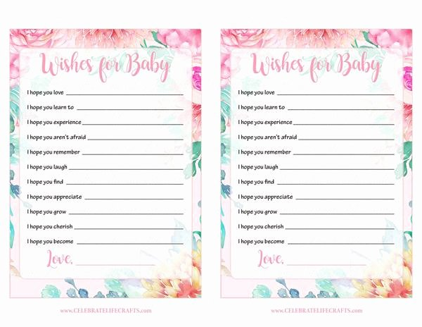 Wishes for Baby Template Fresh Wishes for Baby Shower Activity Spring Baby Shower theme