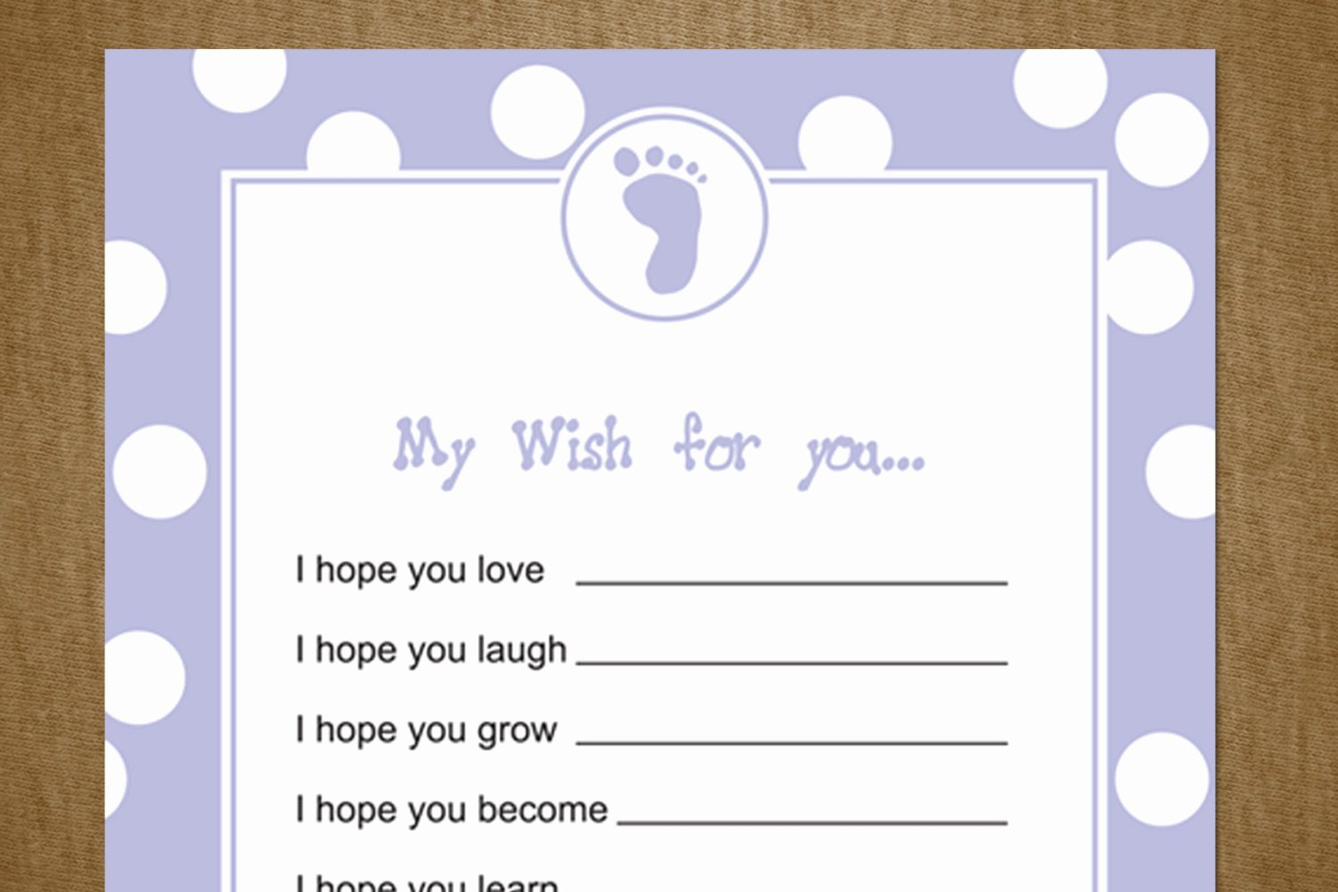 Wishes for Baby Template Inspirational 5 Best Of Printable Baby Shower Wishes Free