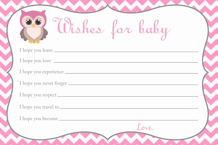 Wishes for Baby Template Inspirational Baby Shower Wishes for Baby Card Owl Baby Shower