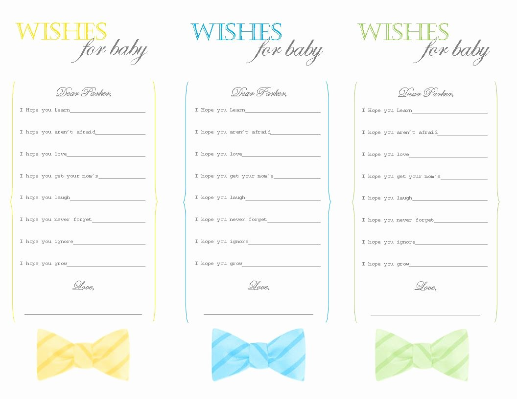 Wishes for Baby Template Inspirational Baked by Morgan Bow Tie Brunch Baby Shower