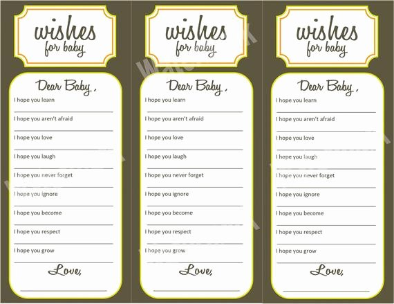 Wishes for Baby Template Lovely Wishes for Baby Baby Shower Activity Printable by Kjones4099