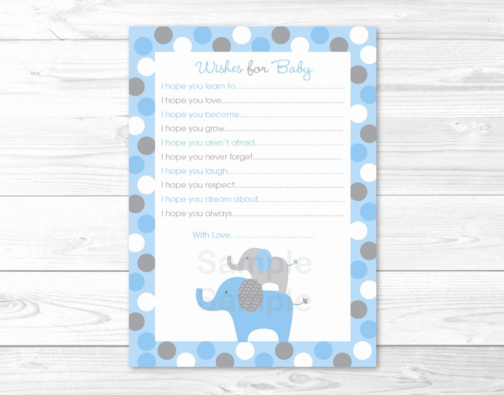 Wishes for Baby Template Luxury Blue Grey Polka Dot Elephants Printable Baby Shower Wishes