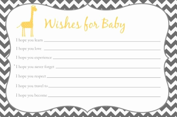Wishes for Baby Template Luxury Wishes for Baby Card Printable Chevron Baby Shower Giraffe
