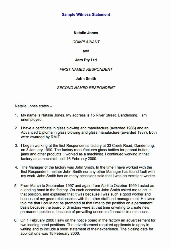 Witness Statement Template Word Fresh Witness Statement Template 12 Download Free Documents