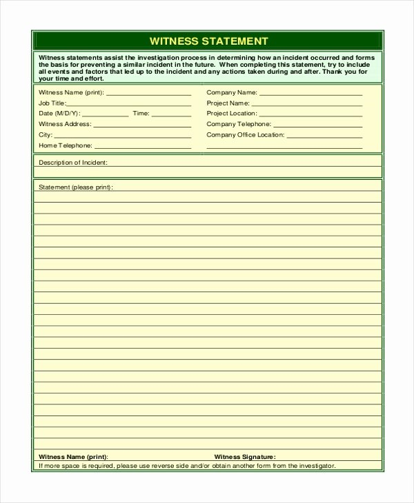 Witness Statement Template Word Inspirational Sample Witness Statement form 10 Free Documents In Word