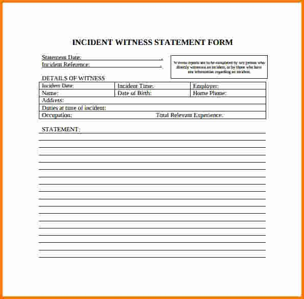 Witness Statement Template Word Lovely Witness Statement form