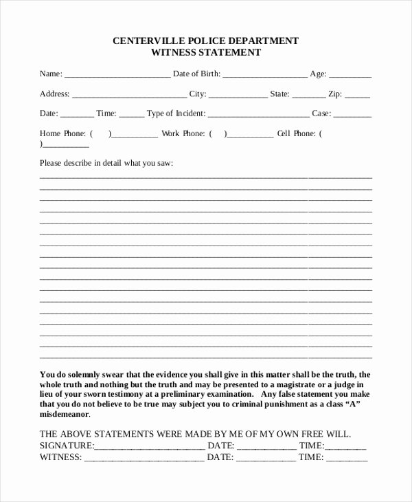 Witness Statement Template Word Unique Sample Witness Statement form 10 Free Documents In Word