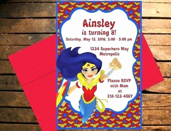 Wonder Woman Invitation Template Awesome Superhero Girls Invitation Dc Invite Super Hero Birthday