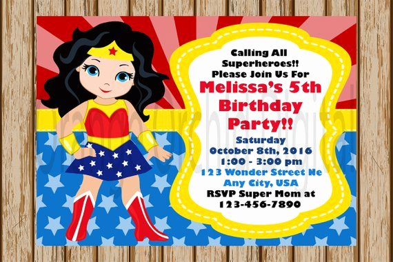 Wonder Woman Invitation Template Awesome Wonder Woman Birthday Invitations Wonder Woman Birthday