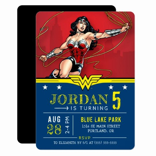 Wonder Woman Invitation Template Awesome Wonder Woman Happy Birthday Invitation