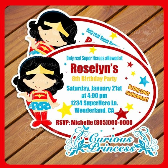 Wonder Woman Invitation Template Awesome Wonderwoman Wonder Woman Party Super Hero Superhero Girl