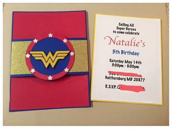 Wonder Woman Invitation Template Beautiful Wonder Woman Birthday Invitation