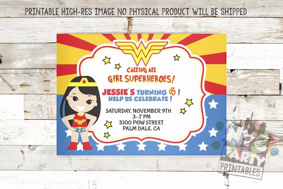 Wonder Woman Invitation Template Beautiful Wonder Woman Birthday Invitation Template – Best Happy