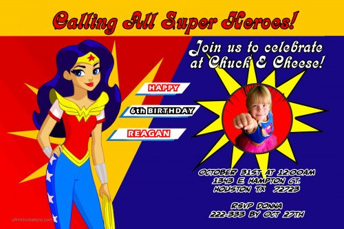 Wonder Woman Invitation Template Best Of Wonder Woman Custom Birthday Invitations Design Line