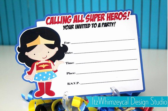 Wonder Woman Invitation Template Luxury 12 Free Printable Blank Superhero Birthday Invitation