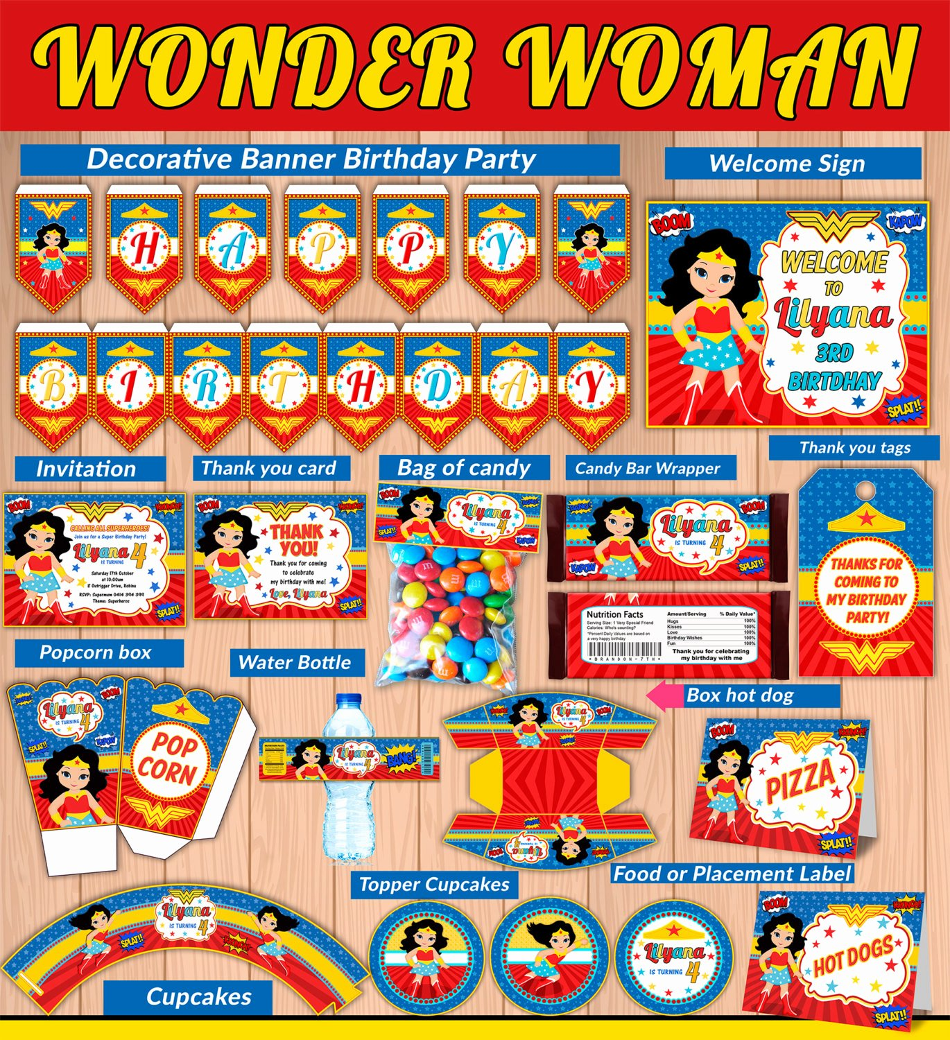 Wonder Woman Invitation Template Unique Wonder Girl Kit Printable Party Wonder Woman Ic Party