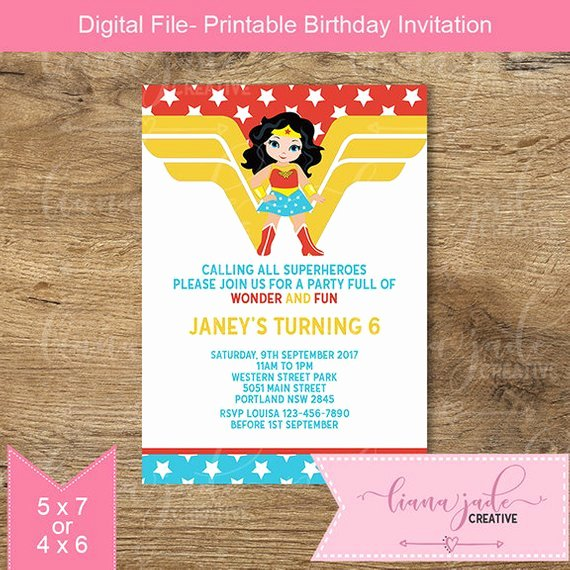 Wonder Woman Invitation Template Unique Wonder Woman Invitation Superhero Birthday Invitation