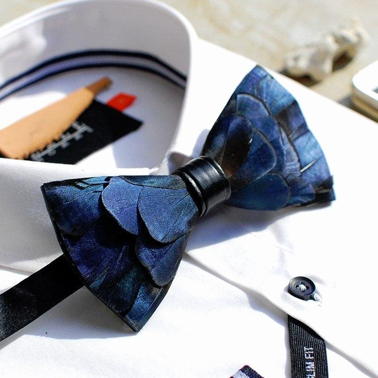 Wooden Bow Tie Template Awesome Blue Feather Bow Tie – Bow Ties for Men – Bow Selectie