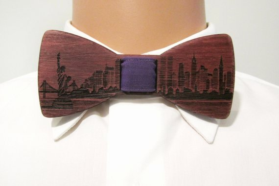 Wooden Bow Tie Template Beautiful Wooden Bow Tie Nyc Skyline Purple Wood Self Tie Bow Tie