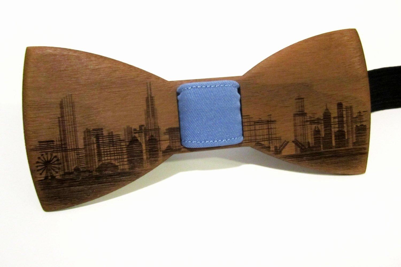 wooden bow tie chicago skyline walnut