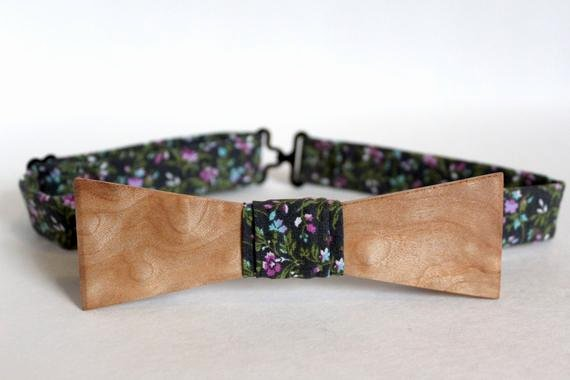 Wooden Bow Tie Template Lovely Handcrafted Wooden Bow Tie Curly Maple Gray Floral with