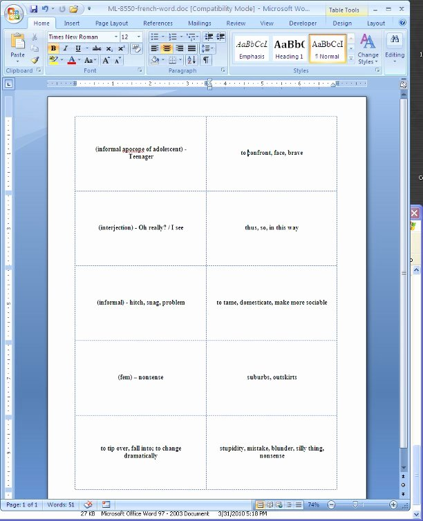 Word Flash Card Template Awesome Flash Cards Template for Microsoft Word 2003 Free