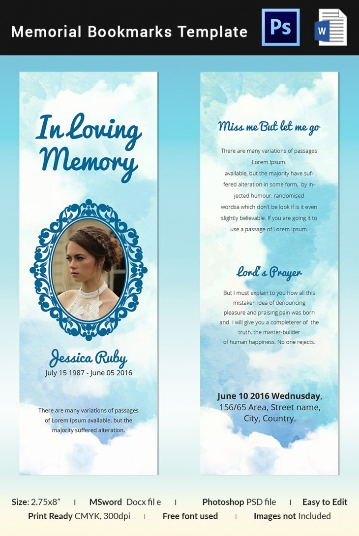 Word Funeral Program Template Awesome 5 Memorial Bookmark Templates – Free Word Pdf Psd