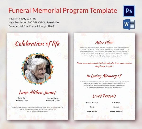 Word Funeral Program Template Awesome Funeral Program Template 16 Word Psd Document Download
