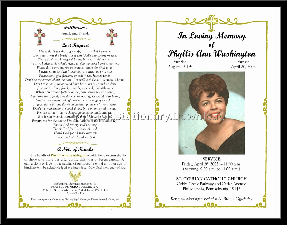 Word Funeral Program Template Best Of Free Funeral Program Template