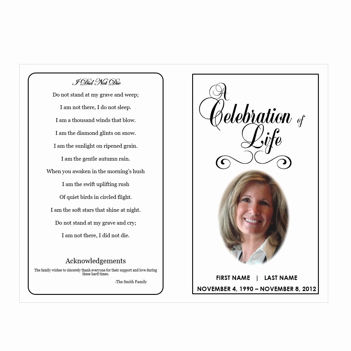Word Funeral Program Template Elegant Celebration Of Life Funeral Pamphlets