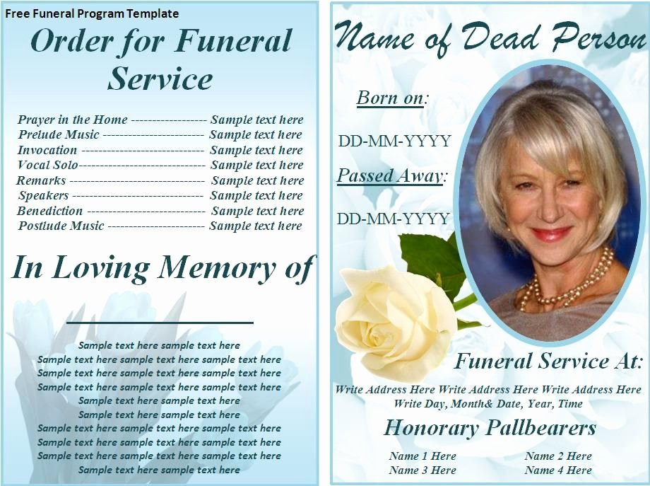 Word Funeral Program Template Luxury Free Funeral Program Templates