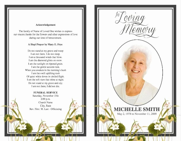 Word Funeral Program Template Luxury Memorial Service Program Template Microsoft Word