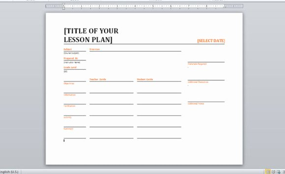 Word Lesson Plan Template Awesome Daily Lesson Planner Template for Word
