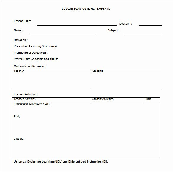 Word Lesson Plan Template Lovely Lesson Plan Outline Template 8 Free Free Word Pdf