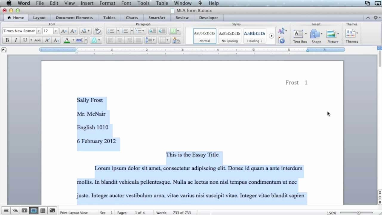 Word Mla format Template Luxury Mla formatting Microsoft Word 2011 Mac Os X