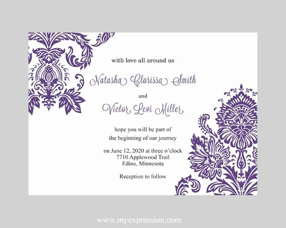 Word Template for Invitations Best Of Wedding Invitation Template Purple Damask Instant Download